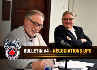 De gauche à droite : Richard Eichel, directeur de la Division des colis de Teamsters Canada, et François Laporte, président de Teamsters Canada, lors des négociations avec UPS à Québec.